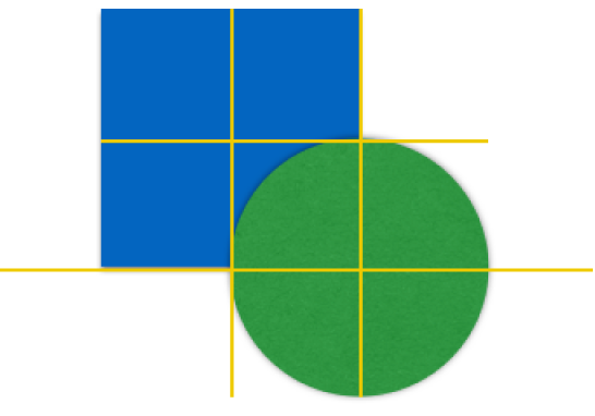 两个对象上的黄色对齐参考线