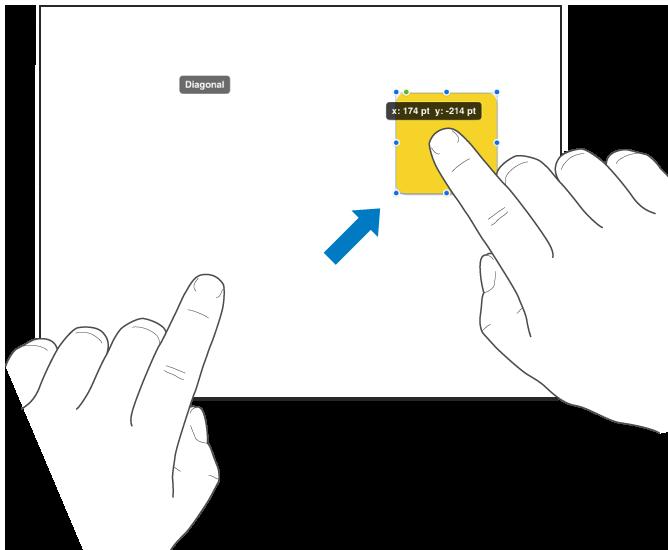 图示为用一个手指选择对象并用另一个手指朝屏幕顶部推送